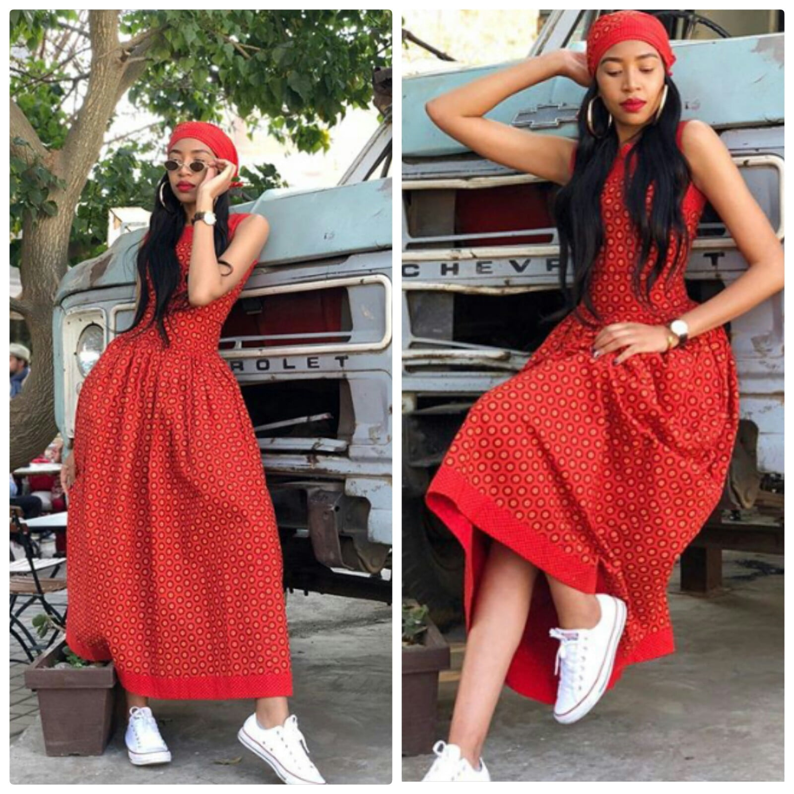 Blue Mbombo In Long Red Shweshwe Print Dress With Sneakers