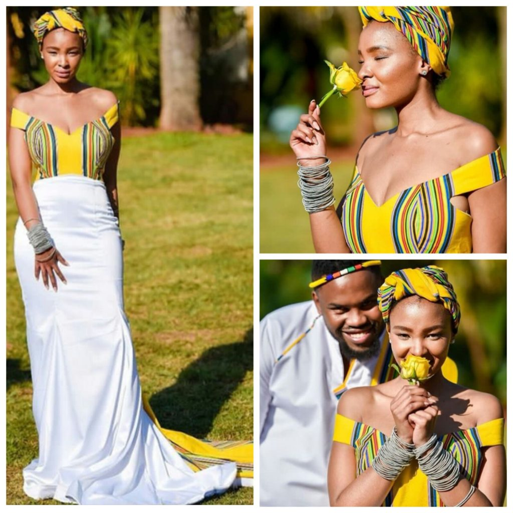 Venda Traditional Modern Dresses: Lovely Off Shoulder Venda Traditional Wedding Gown With