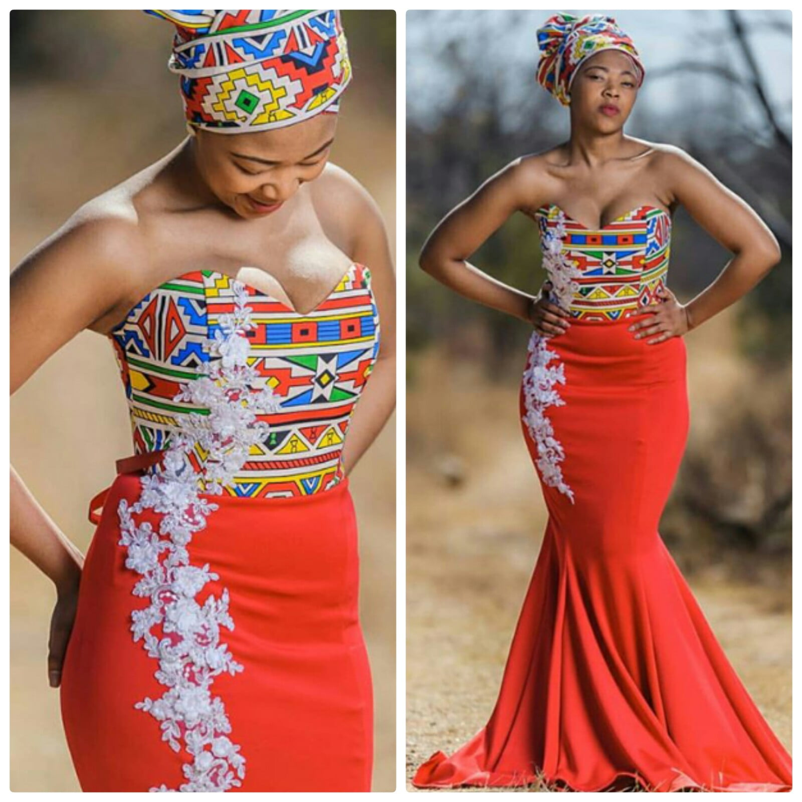 Lovely Ndebele Inspired Mermaid Dress With Headwrap 'Doek
