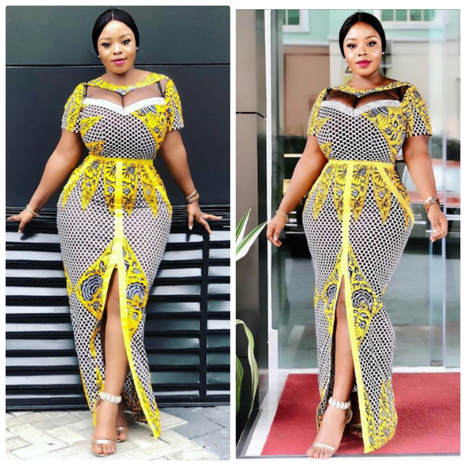 Winnie Mashaba Outfits: Beautiful Yellow & Grey Ankara Dress With Black Mesh Top