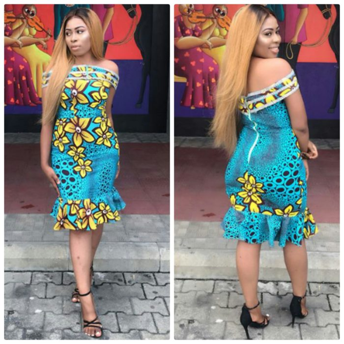 Cute Blue And Yellow Off Shoulder Ankara Dress