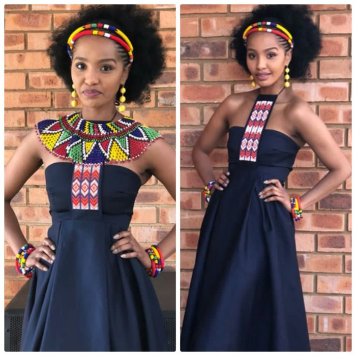 Zulu Bride In Black Traditional Wedding Dress With Beaded Collar