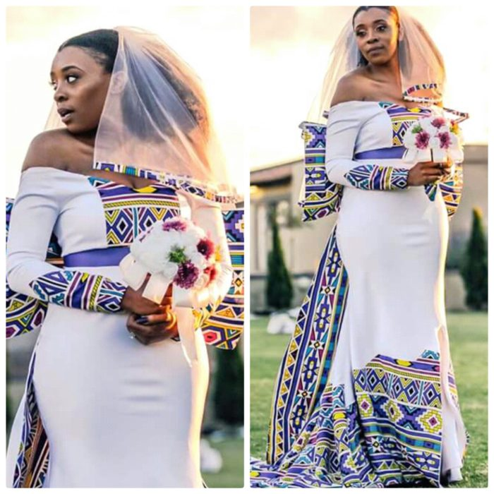 Beautiful Off Shoulder Ndebele Wedding Gown With Veil