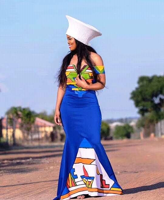 Bride In Off Shoulder Ndebele Traditional Wedding Attire