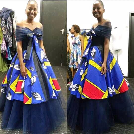 Blue Off Shoulder Swati Emahiya Wedding Dress