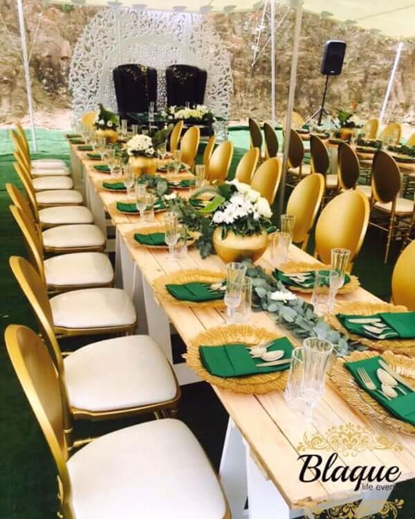 Green And Gold Wedding Decorations: Green And Gold Themed Umembeso Decoration
