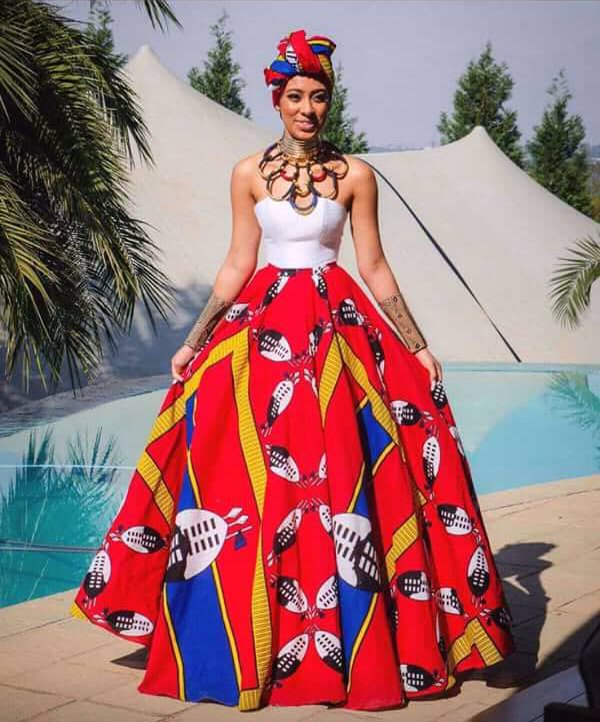 Siswati Traditional Lihiya Print Wedding Dress And