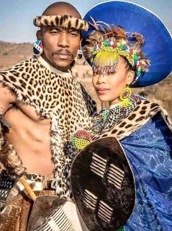 4dffe96bec939 Couple In Full Zulu Traditional Wedding Attire
