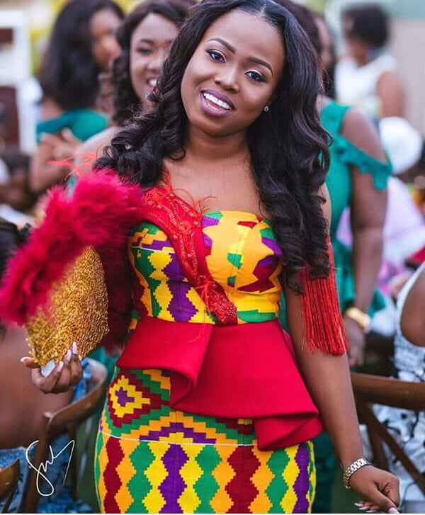 Kente Wedding Gowns: Kente Wedding Dress With Red Design