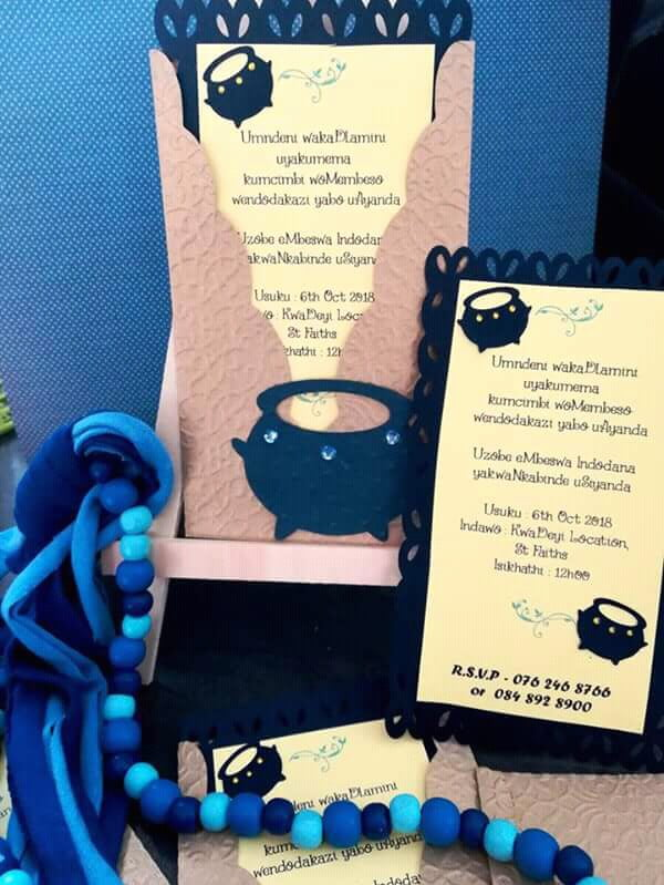 navy gold and lemon umembeso traditional invitation