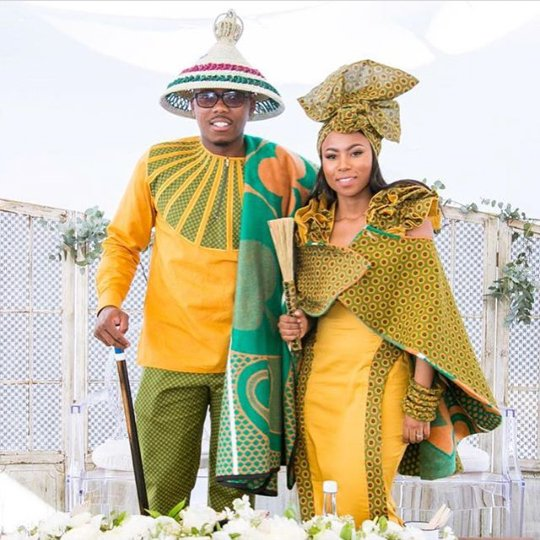 sotho groom amptswana bride in green and yellow shweshwe