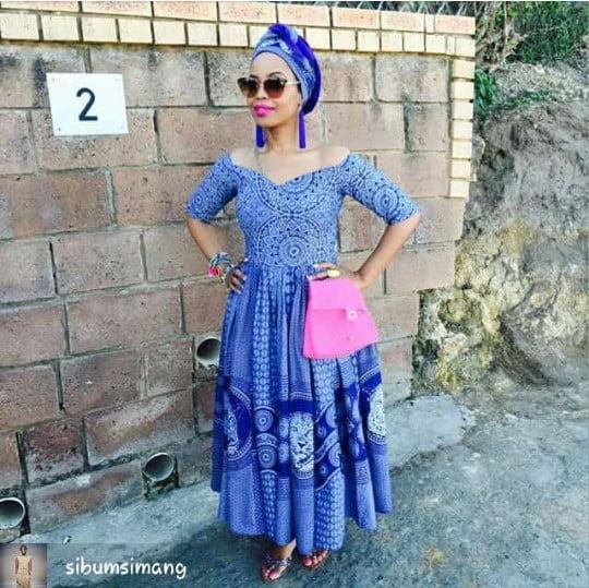 c42c6660c0 Blue Off Shoulder Shweshwe Dress by Sibum Simang