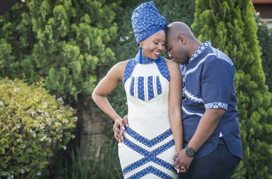 Tswana Couple In Seshoeshoe Traditional Wedding Attire Clipkulture