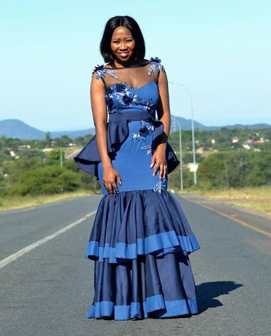 Beautiful African Shweshwe Print Wedding Dress By