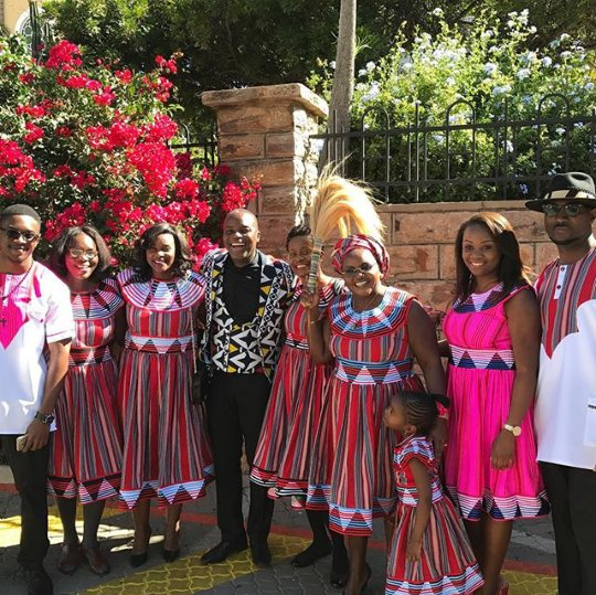 Namibian Bride And Groom With Family In Oshiwambo Print