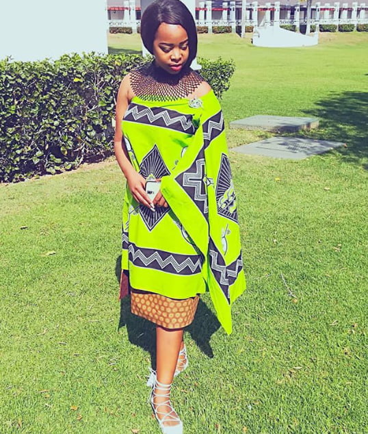 Swazi Lady In Lemon Green Emahiya Traditional Attire With