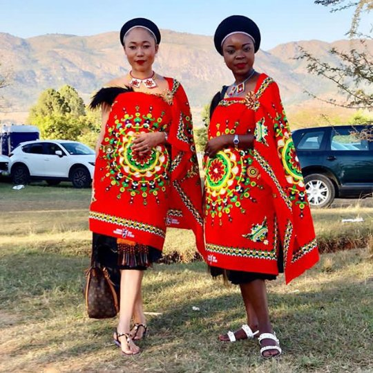 Swazi Royals In Red Emahiya Traditional Attire With Fur