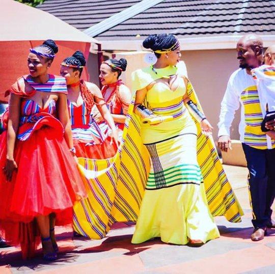 Venda Traditional Modern Dresses: Bride In Yellow Venda Traditional Wedding Dress With Cape