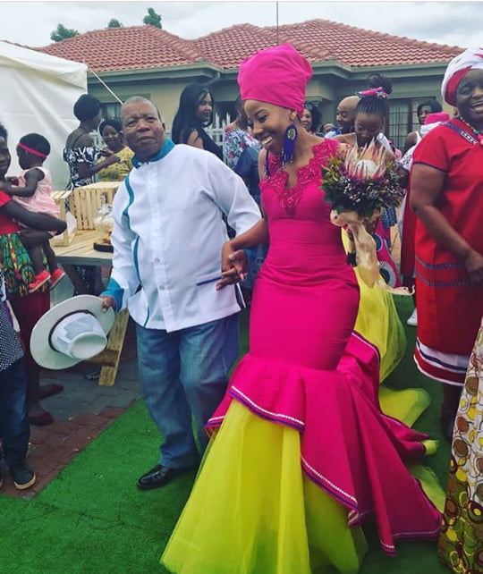 Bride In Pink And Yellow Sepedi Traditional Wedding Gown