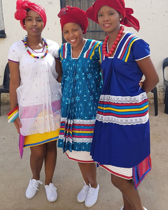 Ladies In Sepedi Patterned Traditional Dresses