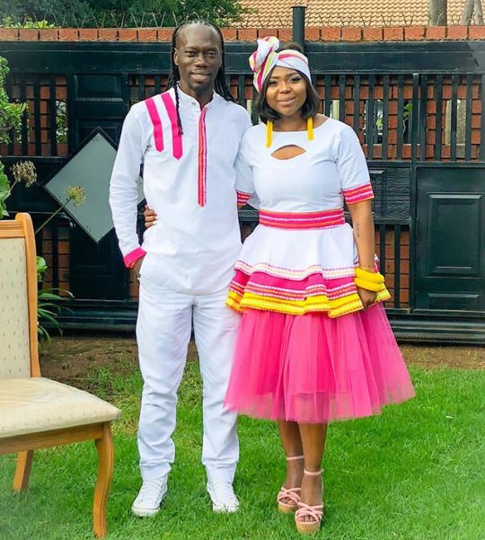 Couple In Sepedi Inspired Traditional Wedding Outfit