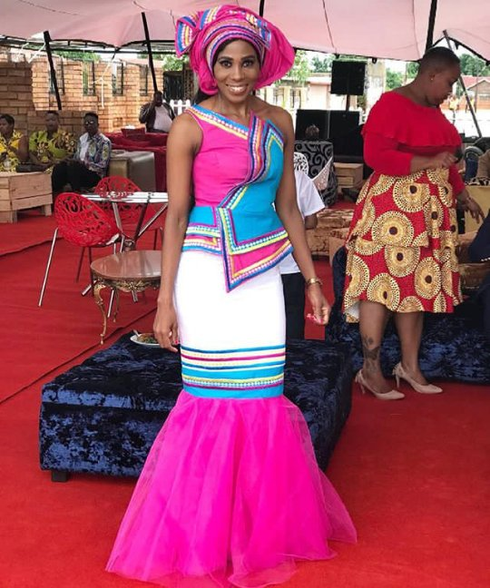 Winnie Mashaba Outfits: Beautiful Sepedi Patterned Traditional Wedding Gown For