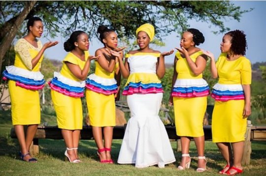 Bride And Her Maids In Sepedi Traditional Wedding Attire