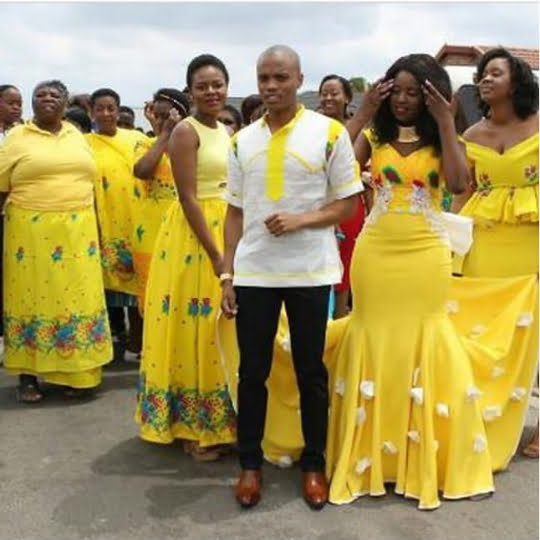 Venda Traditional Modern Dresses: Couple And Squad In Tsonga Traditional Wedding Outfit