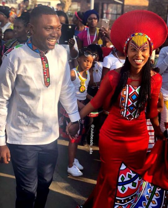 Beautiful Bride In Red Ndebele Traditional Wedding Dress