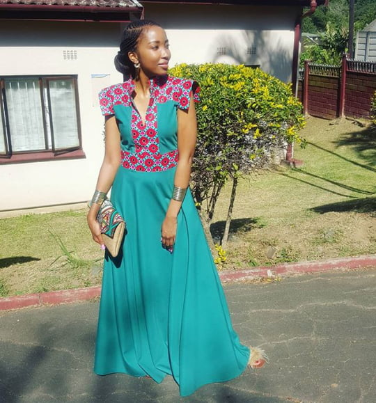 Guest In African Print With Green Dress For Umembeso