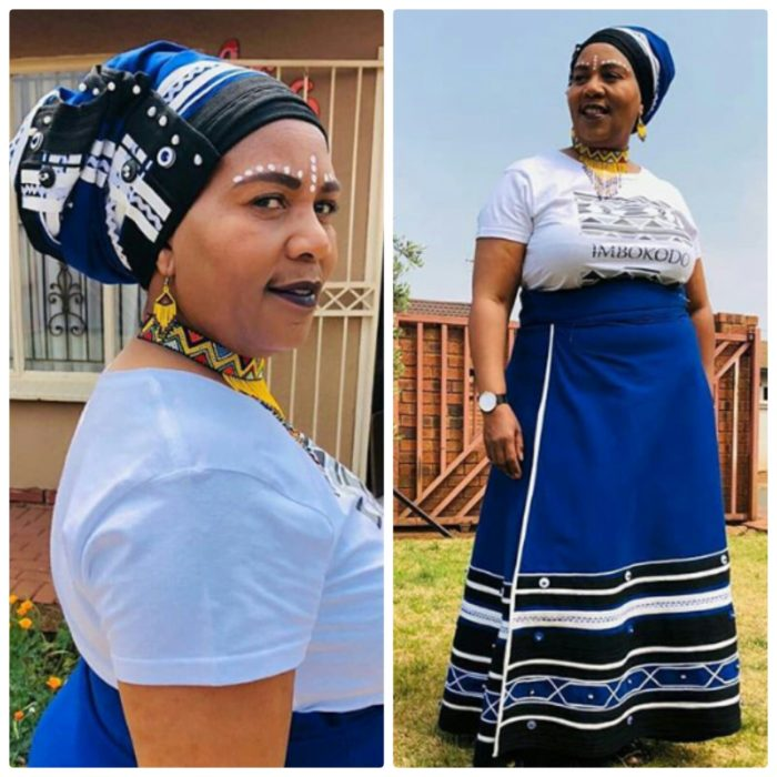 Royal Blue Xhosa Traditional Umbhaco Skirt With Doek