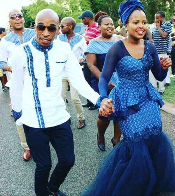 Couple In Tswana Shweshwe Traditional Wedding Attire