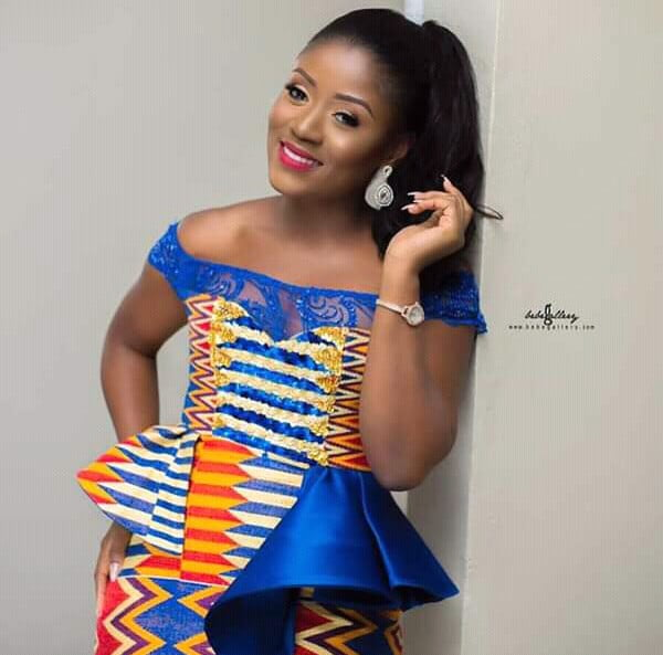 Kente Wedding Gowns: Kente Traditional Wedding Dress With Blue Lace Details