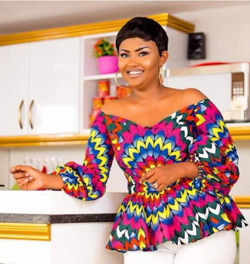 80281b53d22a30 Nana Ama McBrown in Off shoulder African Print Peplum Top and The White  Trousers