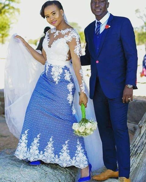 Modern Shweshwe Wedding Dress With White Lace