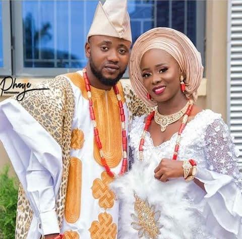 Couple In Yoruba Traditional Wedding Attire