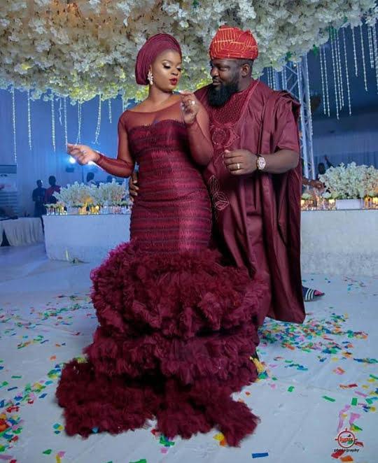 Yoruba Couple In Wine Colour Traditional wedding Attire