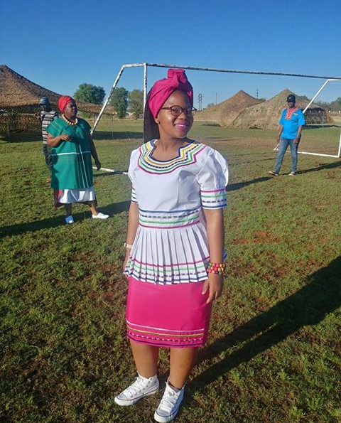 White And Pink Sepedi Traditional Clothing