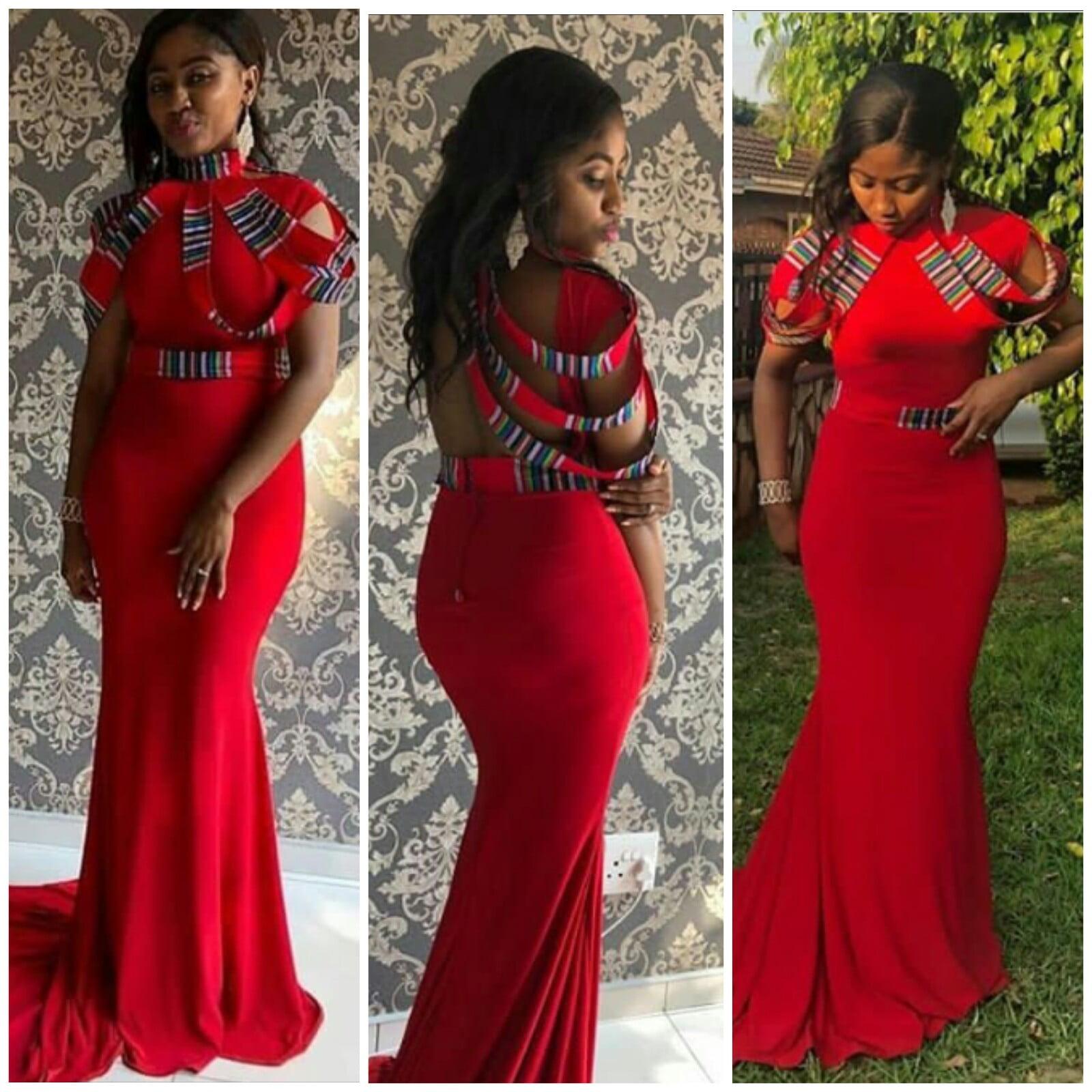 Venda Traditional Modern Dresses: Bride In Lovely Red Venda Traditional Wedding Dress