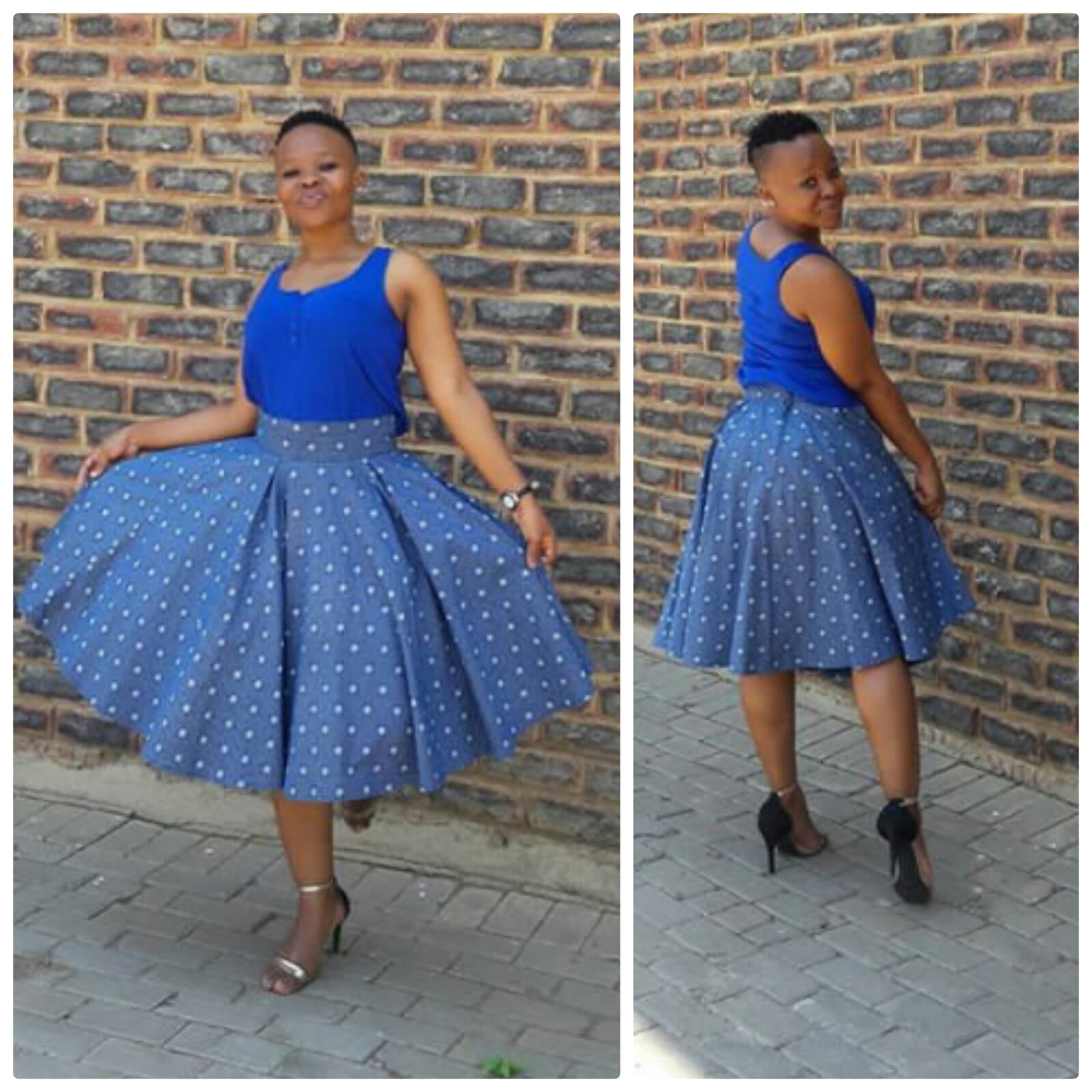 Shweshwe Skirts Pictures: Tswana Lady In Shweshwe Flair Skirt With Blue Top