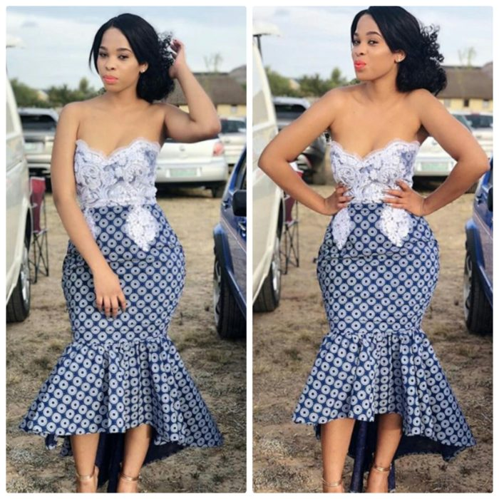 Lady In Bustier Shweshwe Dress With Lace Embellishments