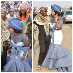 df9902087ad Zulu Groom With Tswana Bride In Shweshwe Traditional Wedding Dress