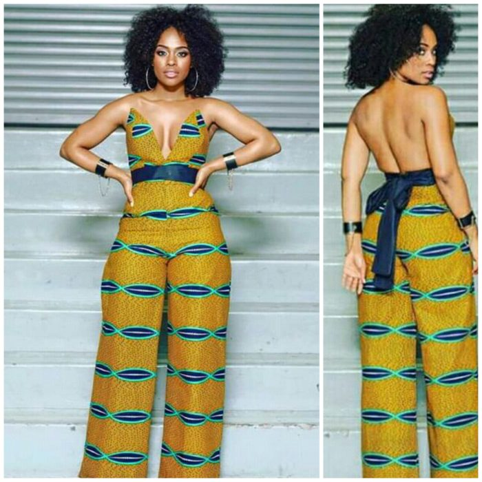 3793b9ed2d7 Nomzamo Mbatha in Halter Neck African Print Jumpsuit