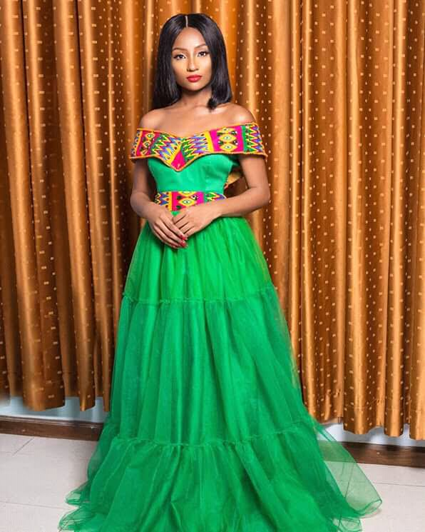 Kente Wedding Gowns: Green Dress With Beaded Kente Neckline And Waistband