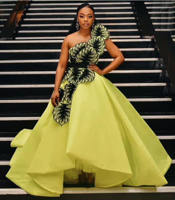 Celebrity Wedding July 2019: Nomzamo Mbatha In One Arm Leafy Dress By Gert-Johan