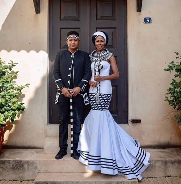 Couple In Modern Xhosa Traditional Wedding Outfit