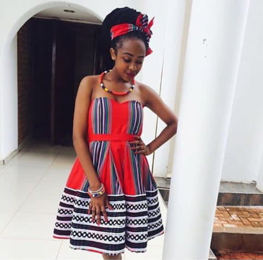 Beautiful Red Venda Armless Dress With Accessories