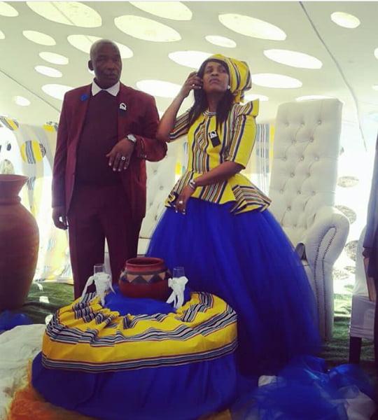 Venda Traditional Modern Dresses: Bride In Yellow And Blue Venda Traditional Wedding Ball