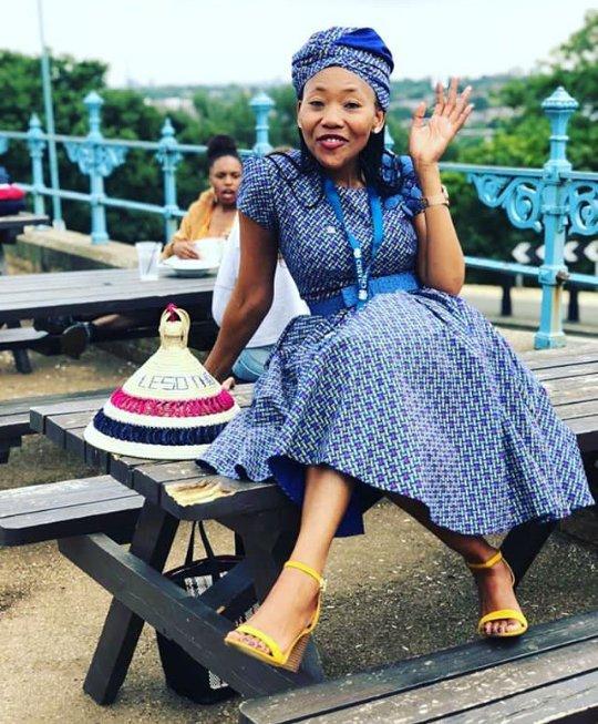 Sotho Lady In Blue Seshoeshoe Dress With Doek