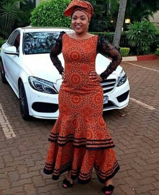 Burnt Orange Sotho Seshoeshoe Dress With Black Lace